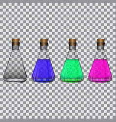 chemical flasks with reagents on a transparent vector image