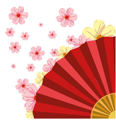 Chinese fan with cherry blossoms vector