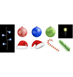 christmas icon set realistic style vector image