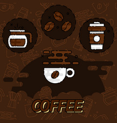 Coffee flat concept icons vector