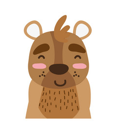 Colorful adorable and happy bear wild animal vector