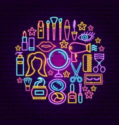 Cosmetics neon concept vector