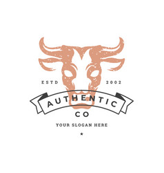 cow hand drawn logo isolated on white background vector image