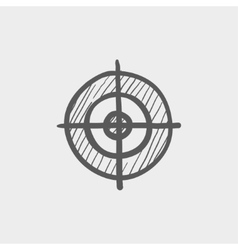 Crosshair target sketch icon vector