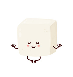 cute smiling happy strong tofu meditate vector image