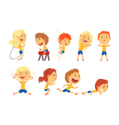 Cute smiling kids doing sports set activity kids vector