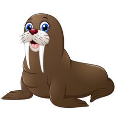 cute walrus cartoon vector image