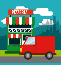 Delivery pizza restaurant fast vector