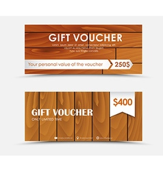 Design gift voucher with different wood texture vector image