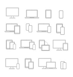 Digital devices line icon set on white background vector
