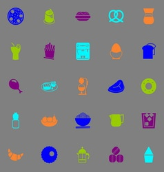Easy meal icons fluorescent color on gray vector image