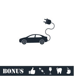 Electric car icon flat vector