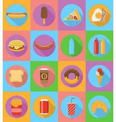 Fast food flat icons 19 vector