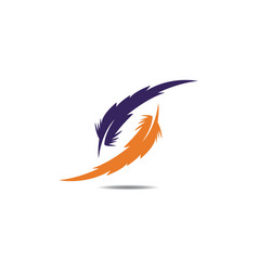 feather pen icon template vector image