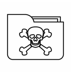 File folder with a skull icon outline style vector