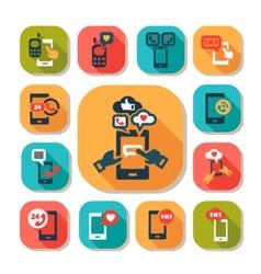flat phone icons set vector image