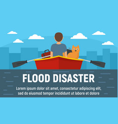 Flood disaster concept banner flat style vector
