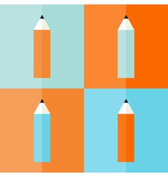 Four pencil icons set vector