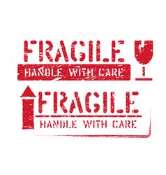 Fragile handle with care arrow up grungy vector