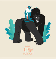 friendship day card with funny gorilla and monkey vector image