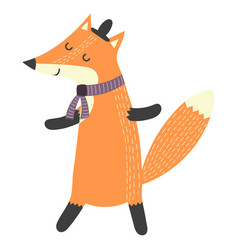 funny walking fox in hat isolated element vector image