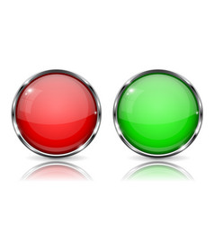 Glass buttons red and green round 3d buttons vector