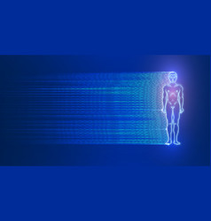 glowing man figure on dark blue background vector image