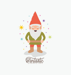 gnome fantastic character with costume and vector image