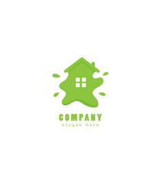 green eco house paint logo vector image