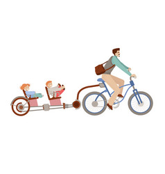 Happy father riding a bicycle with two kids on vector