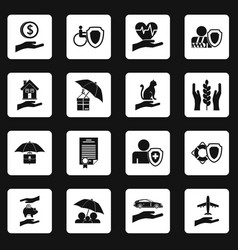Insurance icons set squares vector