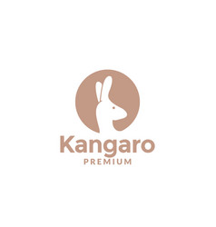 Kangaroo head on circle silhouette for animal vector