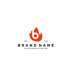 Letter b fire logo design vector