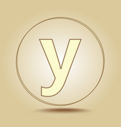 letter y lowercase round golden icon on light vector image
