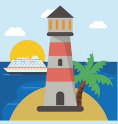 Lighthouse cruise beach sun vector