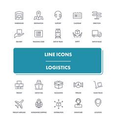 line icons set logistics vector image