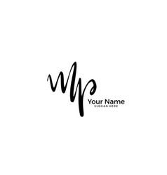 M p mp initial logo signature handwriting vector