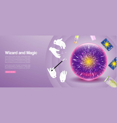 magic and wizard show banner with magic wand in vector image