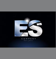 Metal blue alphabet letter es e s logo company vector