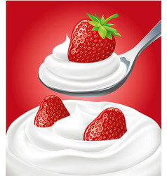 milk cream on spoon with fresh strawberry vector image