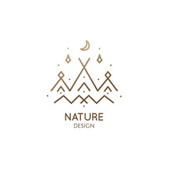 minimal logo camping tent in nature vector image