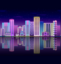 Night city in lights skyline with multistorey vector