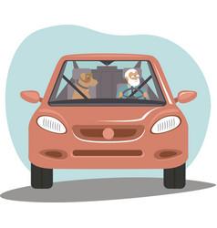 Old senior man driving car her dog sitting near vector