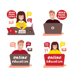 online education 2 vector image
