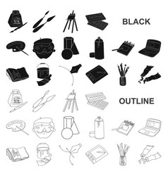 Painter and drawing black icons in set collection vector