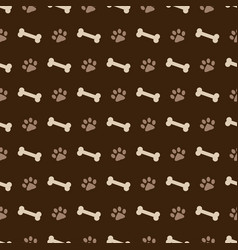 Pattern with dog footprints and bones vector