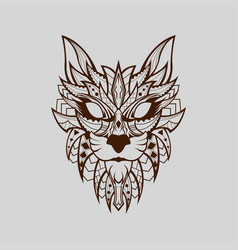 patterned head wild cat line base colour vector image