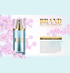 perfume realistic style in a glass bottle on pink vector image