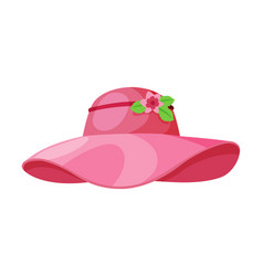 Pink female hat vintage headdress sun protection vector