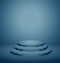 Podium in blue dark background vector